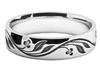 Engraved Patterned wedding rings gold