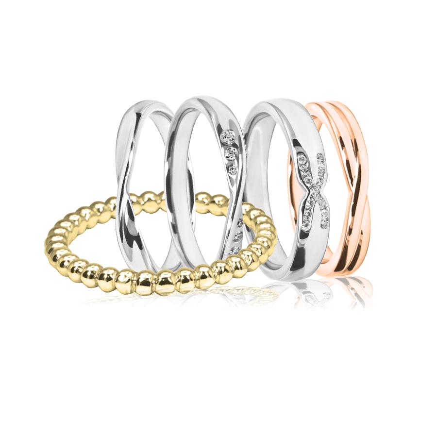 Shaped wedding rings gold